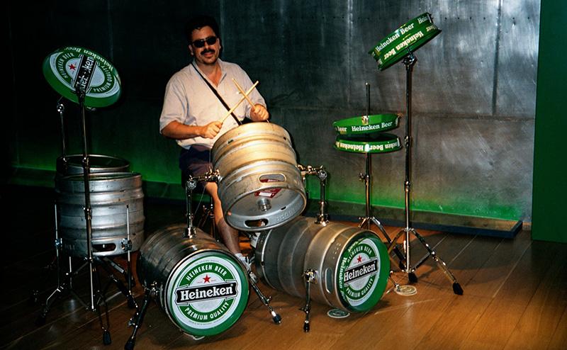 Drum kit made of beer equipment