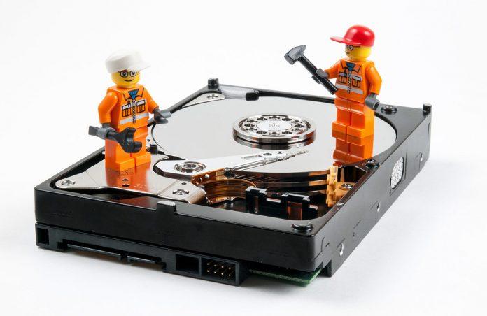 Lego figures on hard drive